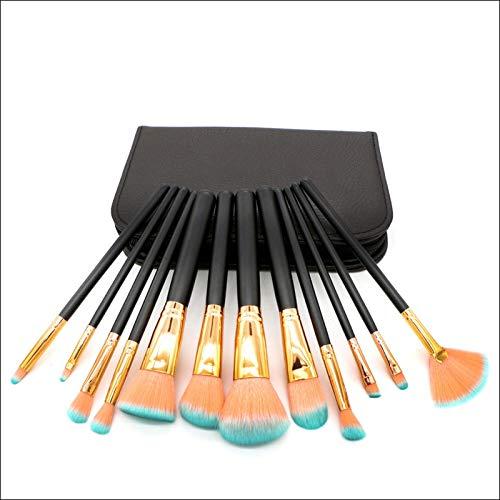 HZSLLL Set de pinceles de maquillaje Mango de Madera Con pu Bolsa de cosméticos Set de pinceles Fundación Sombra de ojos Herramienta de maquillaje de belleza