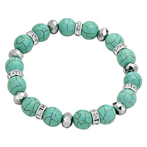rosemarie-collections-da-donna-colore-turchese-con-perline-bracciale-elasticizzato