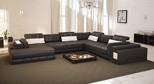 Bullhoff by Giovanni Capellini Leder Wohnlandschaft XXL braun/weiß Ledersofa Couch U-Form Designsofa Ecksofa mit LED-Licht Beleuchtung Hannover