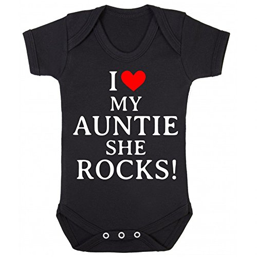 I Love My Auntie She Rocks! Baby Grow Vest - Funny Aunt Niece Nephew Christmas Gift Black