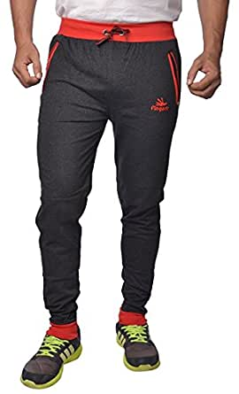 Finger's Men's Tapered Fit Joggers (TPBR_FS_Black-Red)