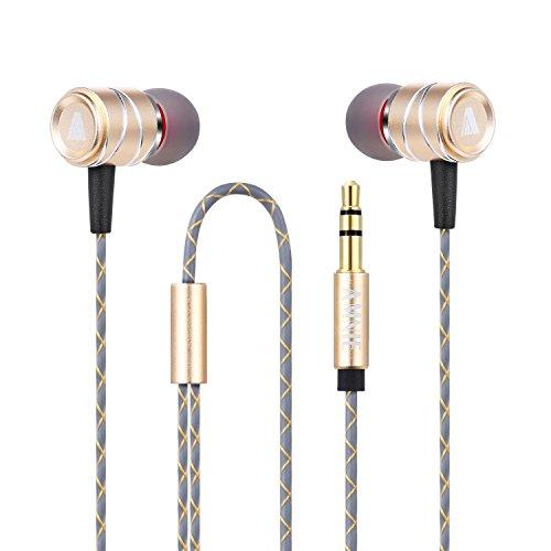 AMNIE Ohrhörer Kopfhörer - High Definition, In-Ear, kein Kabelsalat, Geräuschisolation, TIEFER STARKER Bass für iPhone, iPod, iPad, MP3-Player, Samsung Galaxy, Nokia, Huawei, Nexus (Gold)