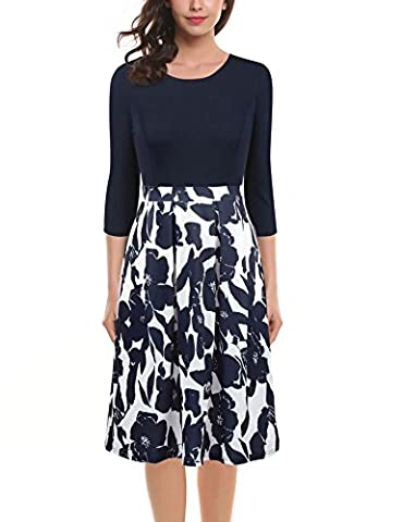 Vessos Women's Wear To Work Formal Patchwork Stretch Floral Print Business Work Dress Blue + White