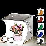 Equipo Fotográfico Portátil,Caja de luz de Fotografía Plegable con luz LED Kit de Caja de luz con 6 Colores de Fondo Paños Luces Incorporadas y Cable USB