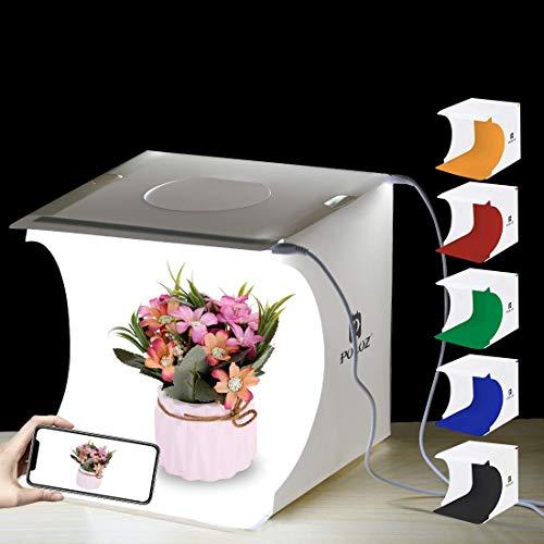 Faltbare Foto Studio Zelt,Leuchtkasten für Fotografie mit LED Licht Mini Fotografie Studio Kit Portable Ausgestattet mit 6 Farben Hintergrundtüchern,eingebauten Lichtern und USB-Kabel