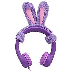 Rabbit Ear Elesound Auriculares de Diadema con Cable para niños,85db,límite de Volumen,Auriculares para niños,Auriculares para niños,Suave,Ajustable cascos,Resistente,para niños,niñas y niños