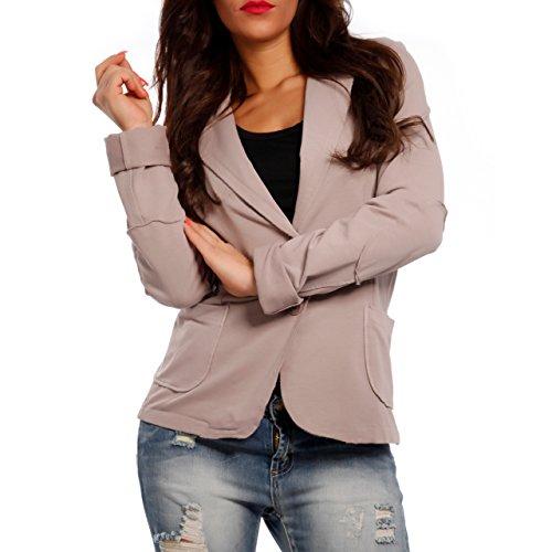Damen Blazer Baumwolle Vintage Sweatblazer Kurzjacke, Farbe:Rosa;Größe:42