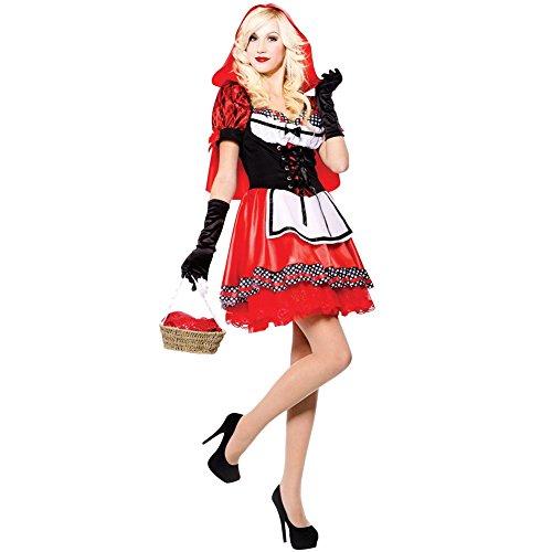 FeelinGirl Damen Halloween Karneval Kostüm Märchen Rotkäppchen Kleid Cosplay M (Kostüme Größere Für Frauen Bauchtanz)