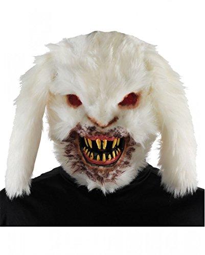 Horror-Shop Killer Bunny Hasen Maske weiß mit Spitzen Zähnen für Halloween & Gruselfans