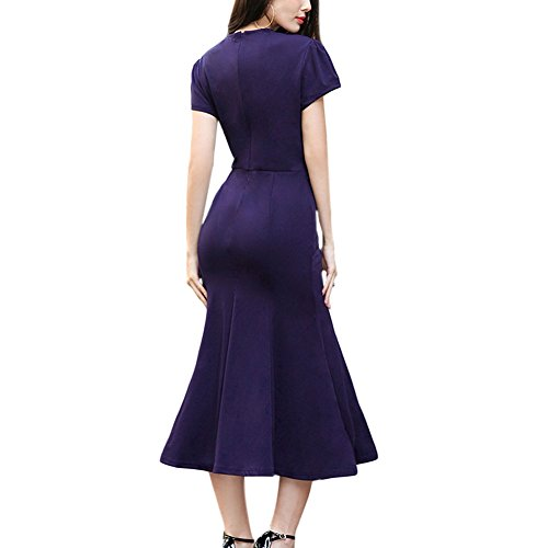 Haodssi Damen Kurze Ärmel Feste Farbe Gefaltet Maxi Kleid V-Ausschnitt Slim Bleistiftrock Blau