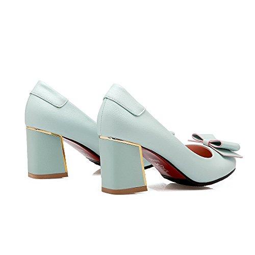 AgooLar Femme Matière Souple Tire Rond à Talon Correct Couleur Unie Chaussures Légeres Bleu