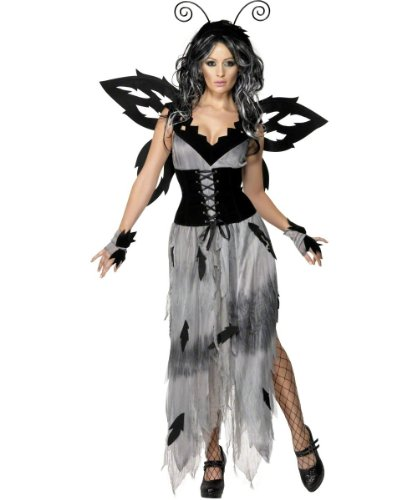 Fee Kostüm Alle Schwarze - Smiffy's - Sexy Böse Schwarze Fee Halloween Kleid für Damen Gr. 36/38 (S), 40/42
