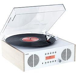 ION Audio Digital LP - Centro musical retro 4 en 1 con giradiscos, radio DAB/FM y entradas auxiliares y USB