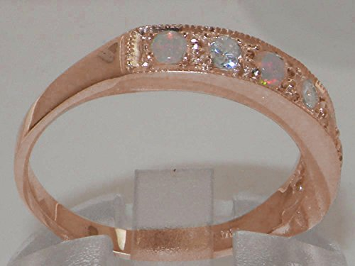 9ct Rose Gold Natural Diamond & Opal Womens Eternity Ring – Sizes J to Z Available