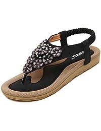 Sandalias para Mujer, RETUROM Nuevas mujeres populares de la secuencia de las vendas de los zapatos planos de las sandalias para la playa (35, Azul)
