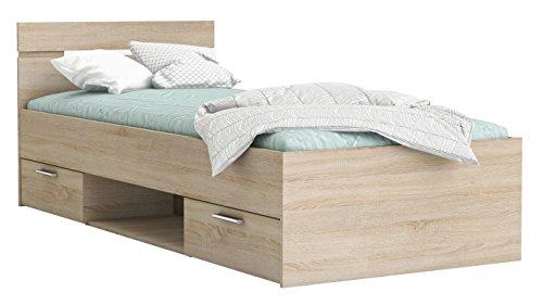 Funktionsbett 90 * 200 cm Sonoma Eiche mit 2 Roll-Bettkästen Jugendzimmer Kinderzimmer Kinderbett Jugendbett Jugendliege Bettliege Bett