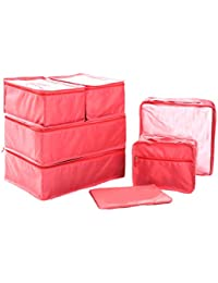 Ewparts 7 Pack Travel Packing Organisers Set , Packing Cubes Essential Bags in Bag Travel Storage Waterproof Nylon Drawstring Dry Bag, for Clothes Suitcase Luggage Storage Laundry Bags (Watermelon)