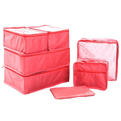 Ewparts 7 Pack Travel Packing Organizer Set, Verpackung Cubes Essential Taschen in Bag Travel Storage (Watermelon) -