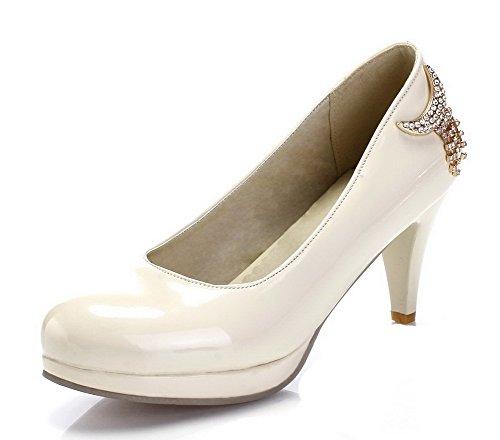 AgooLar Femme Verni Rond à Talon Haut Tire Couleur Unie Chaussures Légeres Beige