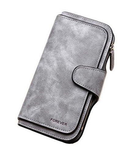 RFID-blockierender Großes Fassungsvermögen Bifold PU Leder Handy Halter Organizer Snap Brieftasche mit Reißverschluss Tasche für Frauen -