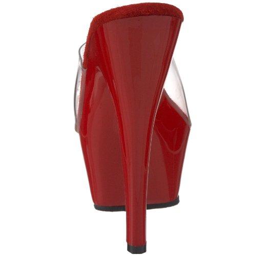 Pleaser KISS-201, Damen Plateau Sandalen Rot (Rot (Clr/Red))