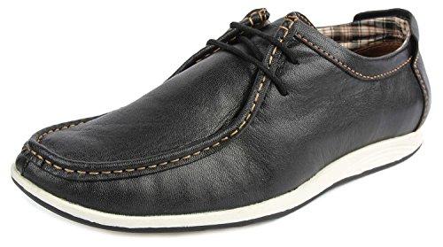 Spunk Men's Black Leather Boat Shoes