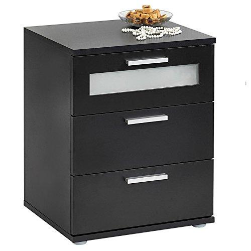 CARO-Möbel Nachttisch Nachtschrank Nachtkommode Mary für Boxspringbett, schwarz, 45 x 53 x 38 cm, mit 3 Schubladen, oberste mit Glaseinsatz -
