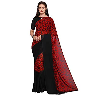 Oomph! Georgette Saree with Blouse Piece (rbms_s005_red_Red_Free Size)