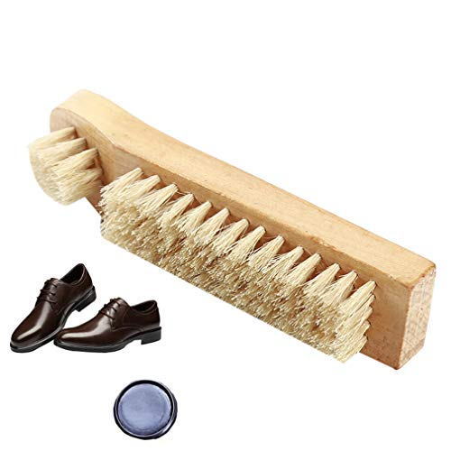 Yeucan Schuhbürste Holzgriff Mehrzweckbürste für Glatte Lederschuhe -