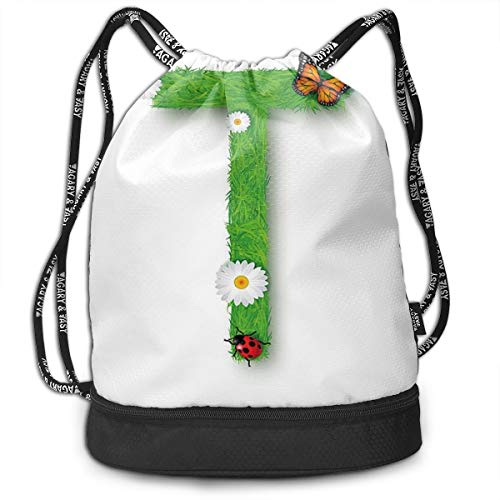 799a062be Printed Drawstring Backpacks Bags,Caps T with Flourishing Fragrance  Botanical Design and Ladybug Girls Theme,Adjustable String Closure
