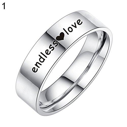 Pengyu Herz mit Finger-Ring Titan Stahl-Paar mit Schmuck–10, Titanstahl, Women's, US 10