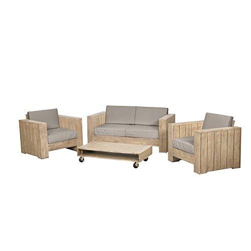 Siena Garden Loungeset Halmstadt, 80x95x77cm, Akazienholz, PU-beschichtet in antik, FSC 100{66d6bd28490decb543ea7b2b9c63bc81f4514c83e8492e5cf4507558f3d08cc1}, Kissenbezug aus Polyester mit 250g/m² in taupe