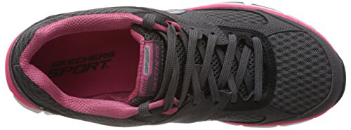 Skechers AgilityPerfect Fit, Chaussons Sneaker Femme Gris - Charcoal/Hot Pink