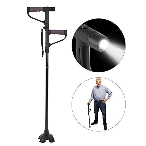 Bastone da passeggio, bastone da passeggio pieghevole regolabile, base pieghevole retrattile base antiscivolo a doppia impugnatura a bastone da viaggio con luce a led per uomo anziano e donne (nero)