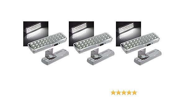 3 er Set LED Akku Notleuchte Notbeleuchtung Sicherheitsleuchte 60 LED/'s 21481
