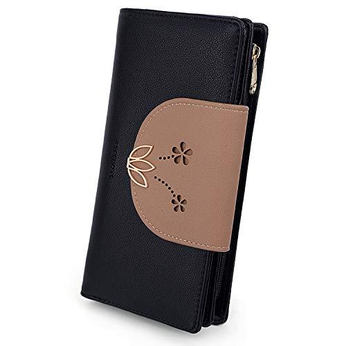 UTO Geldbörse Damen Lotus PU Leder Große Kapazität Kartenhalter Scheckheft Organizer Reißverschluss Schwarz (Schwarze Damen-scheckheft Brieftasche)