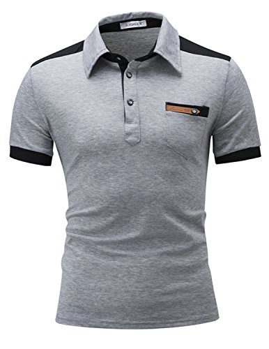 LAINIHK Polo Herren Kontrastfarben Kurzarm Beiläufig Slim Fit Poloshirt Grau 2