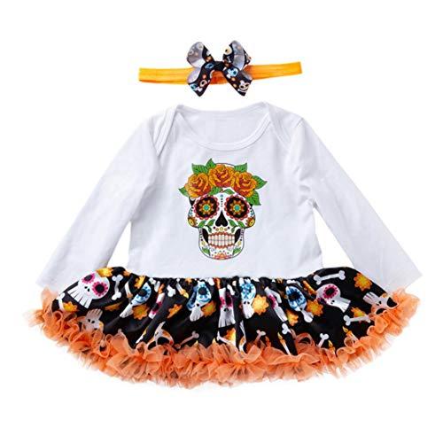 (Gusspwer_babykleidung Halloween Baby Kleider Neugeborenen Mädchen Strampler Langarm Overall Schädel Spitzenrock Outfits + Stirnband Für 3-18Monate (Schädel, 6M / 66))