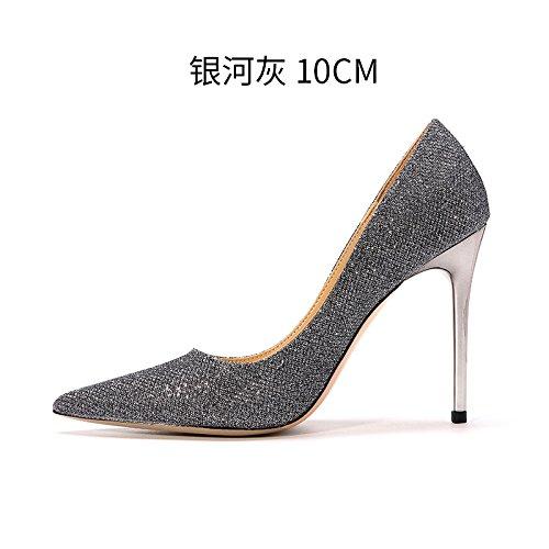 FLYRCX Semplice moda donna sexy con temperamento, paillettes appuntita, shallow argento scarpe con i tacchi alti A