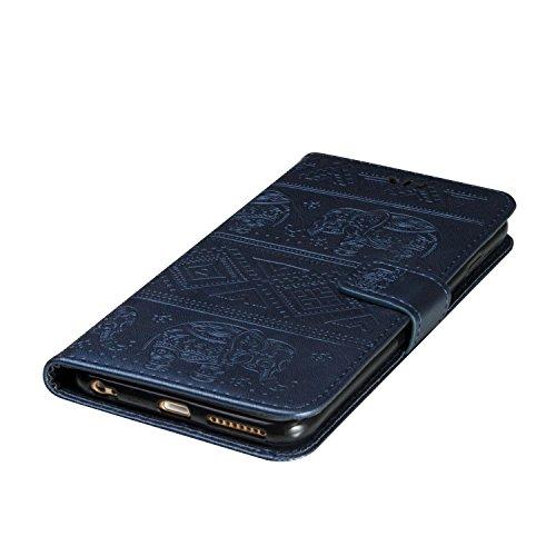 Coque pour iPhone 7 (4,7 zoll) ,Housse en cuir pour iPhone 7 (4,7 zoll) ,Ecoway Elephant motif en relief étui en cuir PU Cuir Flip Magnétique Portefeuille Etui Housse de Protection Coque Étui Case Cov bleu marine
