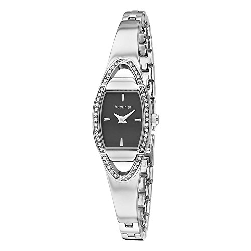 Accurist Women's Quartz Watch with Black Dial Analogue Display and Silver Stainless Steel Bracelet LB1458B