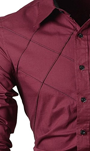 jeansian Homme Chemises Casual Shirt Tops Mode Men Slim Fit 2028 Wine Red