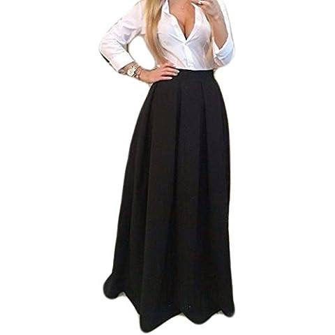 Tkria Moda Mujer Falda Larga Elegante Cintura Elástica Boho Maxi Skirt