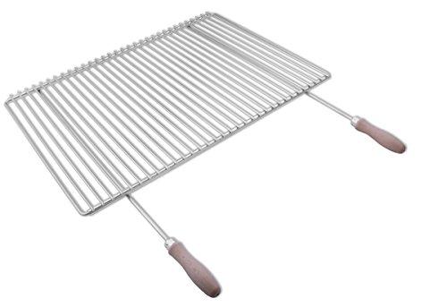 Griglia in acciaio inox europeo con larghezza impostabile da 65-90x45cm, manici in legno.