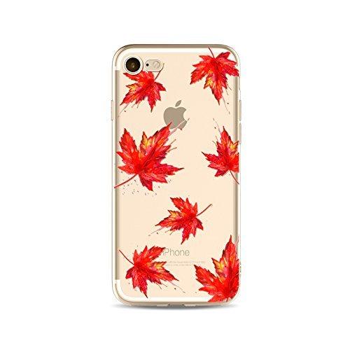 Coque iPhone 6 6s Housse étui-Case Transparent Liquid Crystal en TPU Silicone Clair,Protection Ultra Mince Premium,Coque Prime pour iPhone 6 6s-Les feuilles-style 7 5