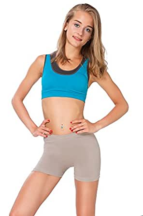 FUTURO FASHION Super Doux Short Coton Extensible élastique Yoga Slip UK 8-22 psl5 - Beige, 36
