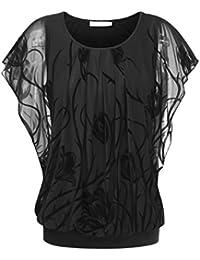BAISHENGGT Damen Falten Kurzarm Tunika Batwing Rundkragen Bluse