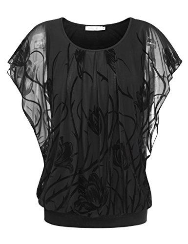 BaiShengGT Damen Falten Kurzarm Tunika Batwing Rundkragen Bluse Schwarz-Tulpe XX-Large - Elegantes Shirt Hose