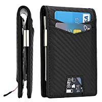 Slim Minimalist Front Pocket Wallet with Money Clip for Men, Genuine Leather RFID Blocking (Black Carbon Fiber)
