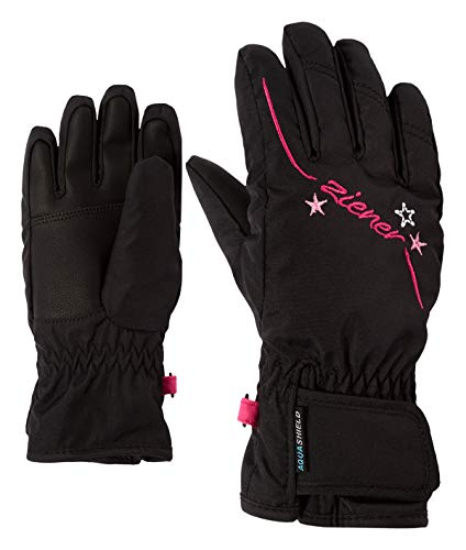 Ziener Mädchen LULA AS GIRLS glove junior Ski-handschuhe / Wintersport | wasserdicht, atmungsaktiv, schwarz (black), 6